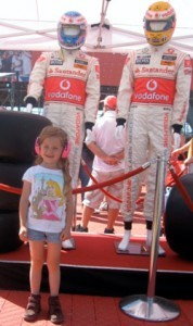 posing with the drivers