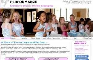 A home page for parents looking for children's dance classes.