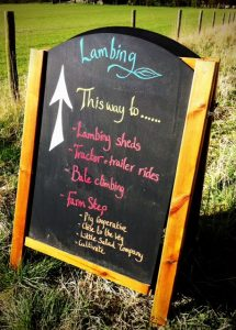 Sign board for lambing at The Earth Trust